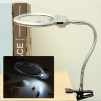 2.5X 5X Large Lens LED Lighted Lamp Clamp On Table Desk Jewelry Magnifier Magnifying Glass Adjustable Gooseneck