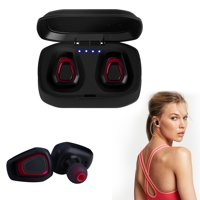 Bluetooth 4.2 Bass True Wireless Headphones, Sports Wireless Earbuds Earphones, Built-in Microphone for iPhone, Samsung, Android Phone