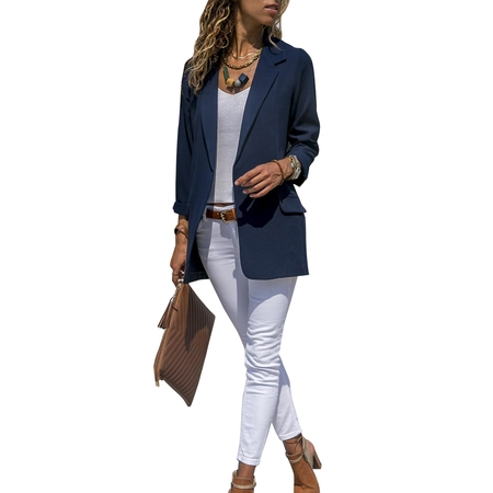 Fashion Women Slim Casual Suit Blazer Coat jacket Ladies OL Office Work Business Long Sleeve Outwear (Best Slim Fit Blazers)