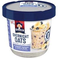 (6 Pack) Quaker Overnight Oats Blueberry Banana & Vanilla Bliss, 2.29 OZ