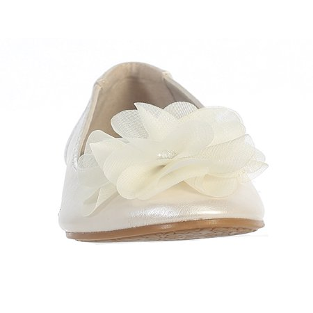 Dempsey Marie Little Girls Flat Flower Dress Shoe - Ivory Dress Shoes For Girls