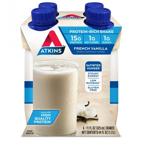 Atkins French Vanilla Shake, 11 fl oz, 4-pack (Ready to