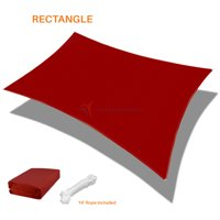 Sunshades Depot 13' x 19' Rectanlge Waterproof Knitted Shade Sail Curved Edge Red 180 GSM UV Block Shade Fabric Pergola Carport Canopy Replacement Awning Customize Available