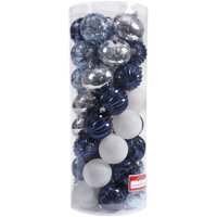 Holiday Time 50 Shatterproof Ornaments, Navy/Silver, Timeless Design