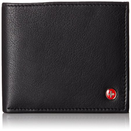 Alpine Swiss Mens Wallet Real Leather Bifold Trifold Hybrid Foldout ID Card -