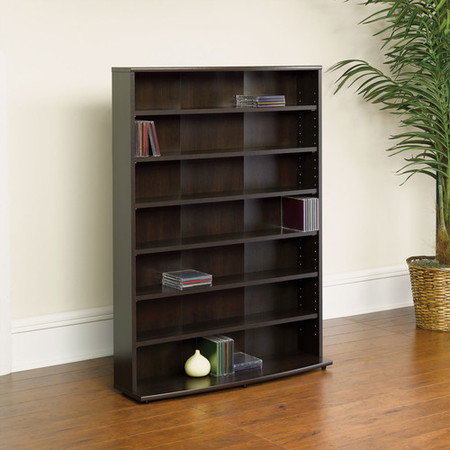 Media Storage Shelving Unit - Sauder O'Sullivan Multimedia Storage Tower, Cinnamon Cherry