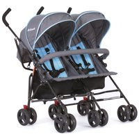 Dream On Me, Volgo Twin Umbrella Stroller In Blue and Dark Grey