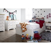 South Shore Summertime Twin Storage Bed (39'') with 3 Drawers, White and Maple