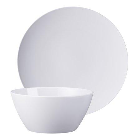 Mainstays 8 Piece Melamine Round Plate and Bowl Dinnerware Set, (Mosaic Melamine Square Plate)