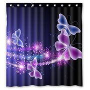 GCKG Pink Purple Butterfly Shining Light Under Blue Sky Waterproof Polyester Shower Curtain And Hooks Size