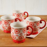 The Pioneer Woman Floral Bursts Footed 19oz Mugs, Set of 4