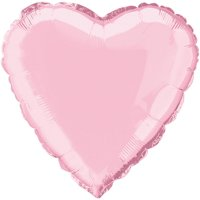 Foil Balloon, Heart, 18 in, Pastel Pink, 1ct