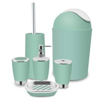 Yosoo 6 Piece Plastic Bathroom Accessory Set Luxury Bath Accessories Bath Set,Lotion Dispenser Toothbrush Holder Tumbler Cup Soap Dish Trash Can Toilet Brush Set