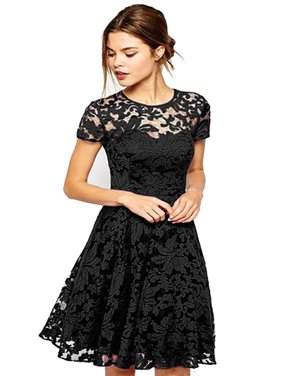 OUMY Women Short Sleeve Lace Cocktail Evening Party Mini Dress