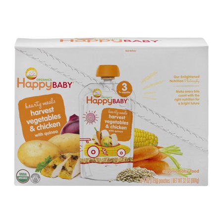 8 Pack Happy Baby Hearty Meals Stage 3 Organic Baby Food
