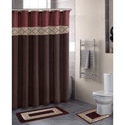 15pc DYNASTY BROWN Bathroom Set Printed Banded Rubber Backing Rug Bath Mats With Fabric Shower Curtain