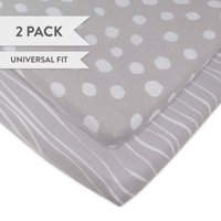 Changing Pad Cover Set | Cradle Sheet Set 100% Cotton Jersey Knit 2 Pack Grey and White Abstract Stripes and Dots