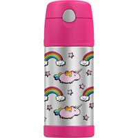 Genuine Thermos Brand Funtainer Vacuum Insulated 12 Ounce Pink Unicorn Straw Bottle, 1 Each