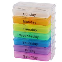 Unique Bargains One Week Pill Box Holder Medicine Storage Organizer Container Case Colorful