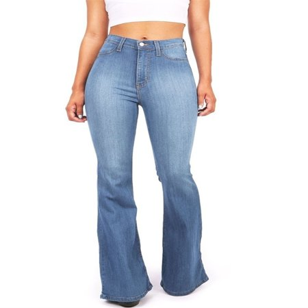 - S-5XL Plus Size Wide Leg Blue Denim Pants Women Casual Jeans