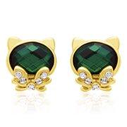 Swarovski Elements Emerald Cat Stud Earrings, Gold Overlay, Pushbacks