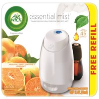 Air Wick Essential Mist Fragrance Oil Diffuser Kit (Gadget + 1 Refill), Mandarin & Sweet Tangerine, Air Freshener