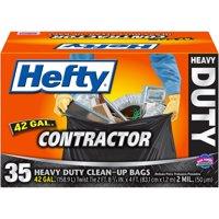 Hefty Heavy Duty Contractor Trash Bag, 42 Gallon, 35 Count