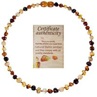Mommys Touch 100% Natural Amber Teething Necklace (Multi-color) - Anti-inflammatory and Teething Pain Reducing Properties with twist-in screw clasp