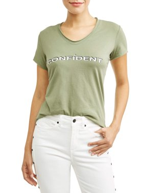 Confídent Short Sleeve V-Neck Graphic T-Shirt Women's