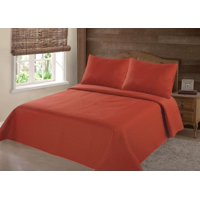 PERSIAN EYGYPTION COLLECTION FULL NENA ORANGE  SOLID CLOSOUT QUILT BEDDING BEDSPREAD COVERLET PILLOW CASES SET