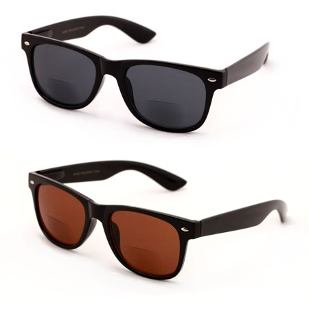 V.W.E. 2 Pairs Classic Bifocal Outdoor Reading Sunglasses - Comfortable Stylish Simple Readers Rx - Sunglasses Personalized