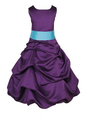 Ekidsbridal Formal Pick-up Satin Purple Flower Girl Dress Junior Bridesmaid Wedding Pageant Toddler Recital Easter Holiday Communion Birthday Girls Clothing Baptism Special Occasions 806s