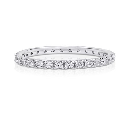 Cubic Zirconia Eternity Ring made with Zirconia from Swarovski Cubic Zirconia Half Eternity Ring