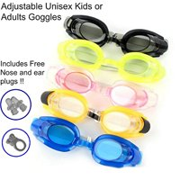 Magg Anti Fog UV Adjustable Comfortable Swimming Goggles With Waterproof Nose + Ear Plug For Adults or kids- Multiple colors and Packs (Assorted, 2-pack)