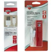 AutoDrive 2200mAh USB Portable Power Bank with Lightning USB Cable Bundle