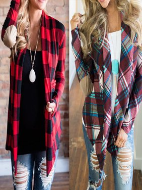 Womens Flannel Plaid Long Sleeve Shirts Casual Loose Cardigan Blouse Jacket Tops