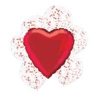 Confetti Heart Balloon Bouquet, Red, 7ct