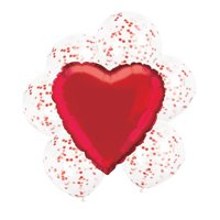 Confetti Heart Balloon Bouquet, Red, 7ct