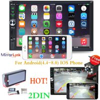 """7"""" Double Din Car Stereo Radio Bluetooth 1080P HD Touch Screen MP5 Player with Reverse Camera And Mirror Link(Both Support Android and ios System)"""