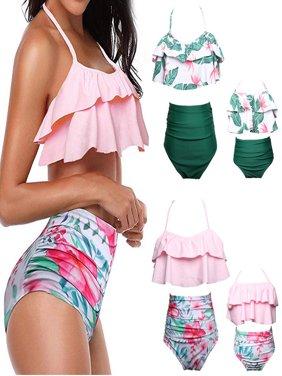Baby Girls Bikini Swimsuit Set Family Matching Mother Girl Swimwear