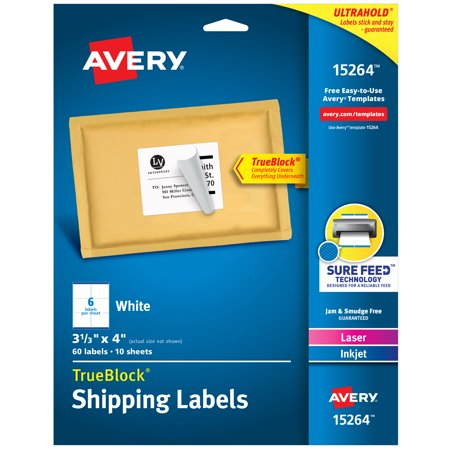 "Avery TrueBlock Shipping Labels, Sure Feed Technology, Permanent Adhesive, 3-1/3"" x 4"", 60 Labels (15264)"