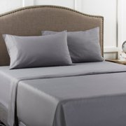 Mainstays Twin 200 Thread Count Flat Grey Bed Sheet Set, 1 Each