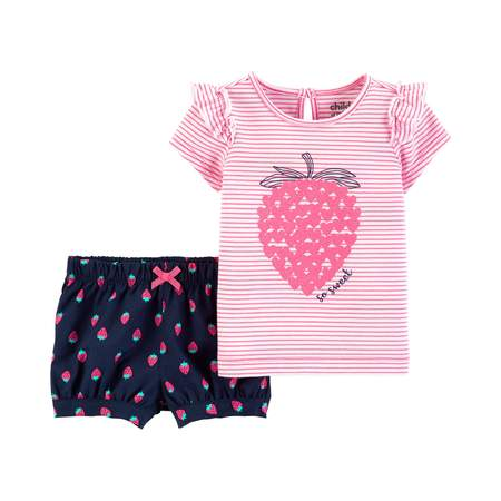 Short Sleeve T-Shirt and Shorts Outfit, 2 Piece Set (Baby Girls) - Dark Angel Outfits