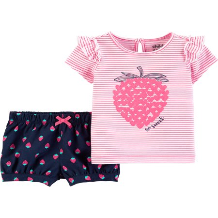 Short Sleeve T-Shirt and Shorts Outfit, 2 Piece Set (Baby Girls) - Cute Baby Girl Thanksgiving Outfit