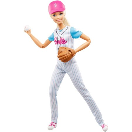 Barbie Made To Move Baseball Player Doll with Baseball & Mitt - Barbie Cheerleading