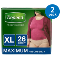 Depend FIT-FLEX Incontinence Underwear for Women, Maximum Absorbency, XL, 2 Packs of 26