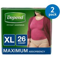 Depend FIT-FLEX Incontinence Underwear for Women, Maximum Absorbency, XL, 2 Packs of 26