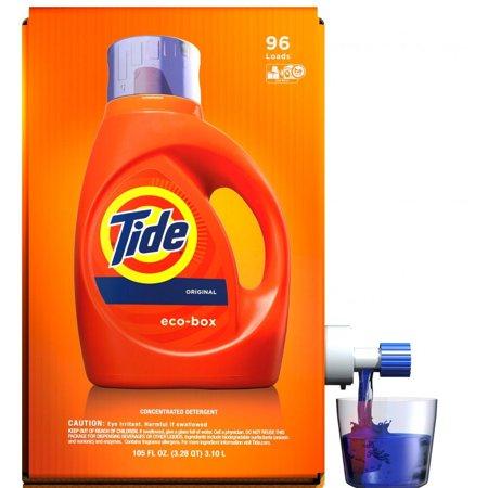 Tide High Efficiency Liquid Laundry Detergent Eco-Box, Original Scent, 105 fl oz, 96 loads