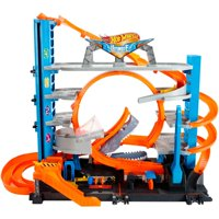 Hot Wheels Ultimate Garage Tower Shark Loop Racetrack Set with Two Vehicles