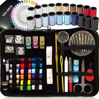SEWING KIT, Over 130 DIY Premium Sewing Supplies, Mini sewing kit, 38 Spools of thread - 20 Most popular colors & 18 Multi Colors, Extra 40 sewing pins, for ravel, kids, Beginners,Emergency and home